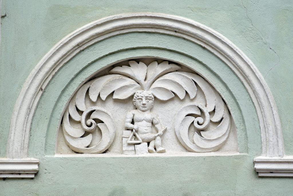Třebíč - Dzielnica Żydowska - element dekoracyjny dawnej szkoły