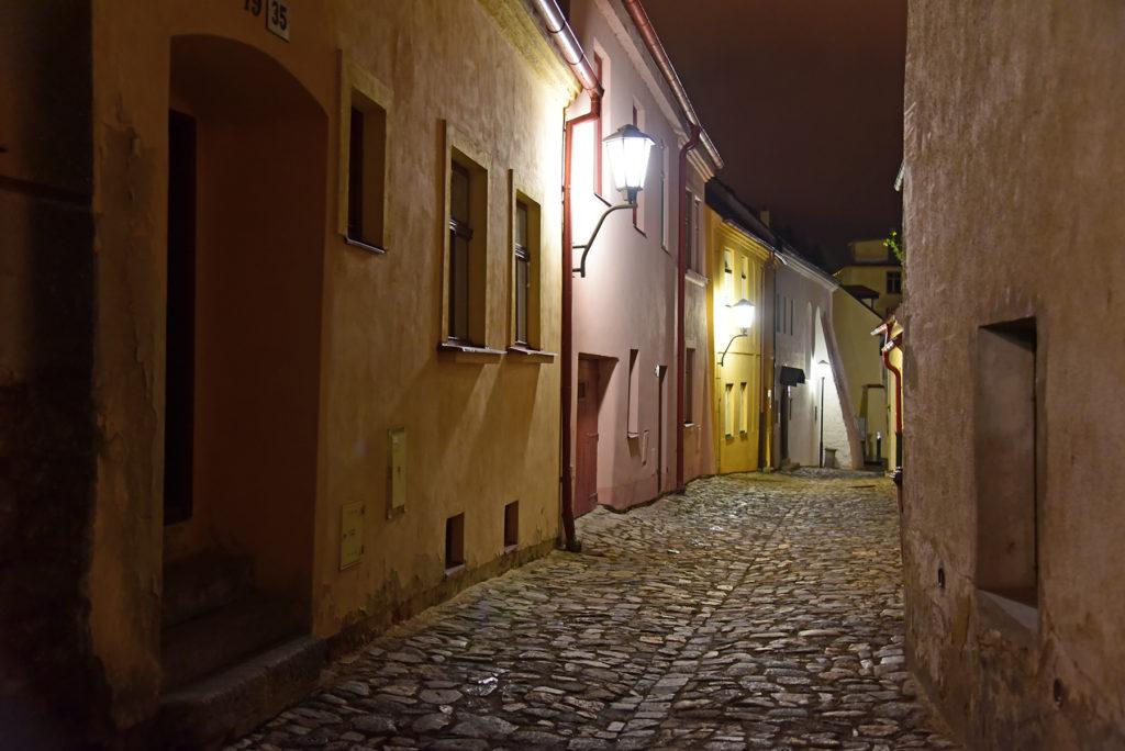 Třebíč - Dzielnica Żydowska - ulica Blahoslavova nocą