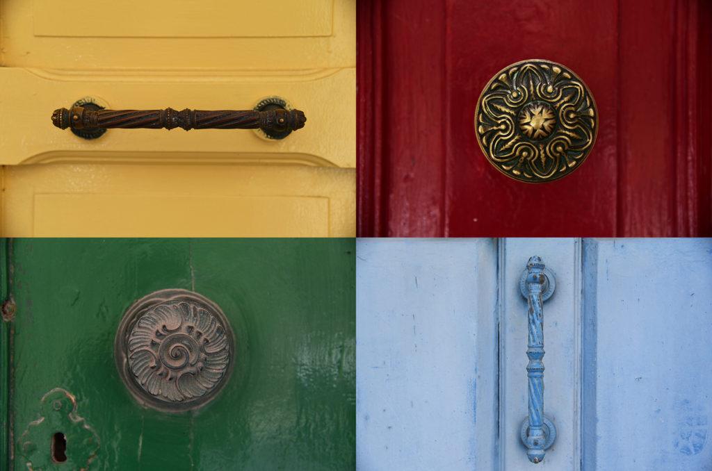 Klamki u drzwi - koła i prostokąty