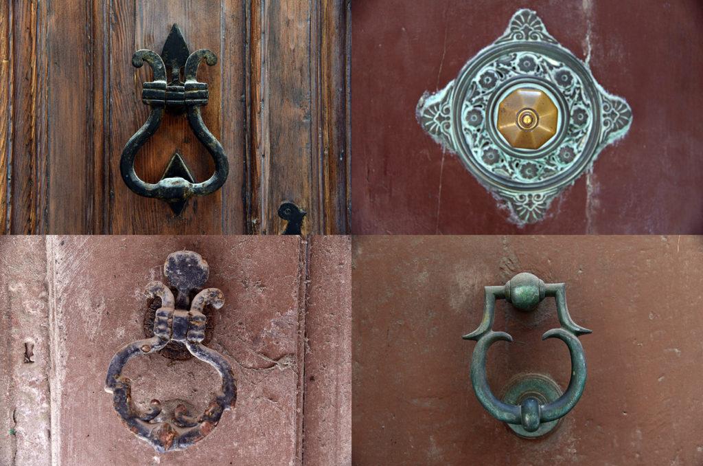Klamki u drzwi - na brązowym tle