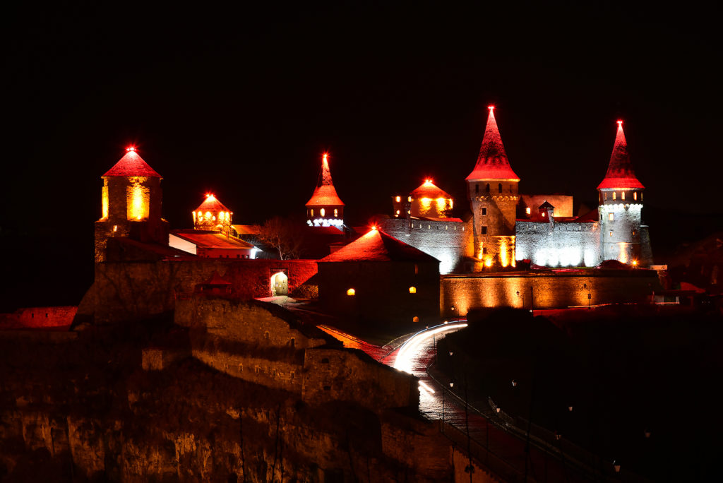 Kamieniec Podolski - twierdza nocą