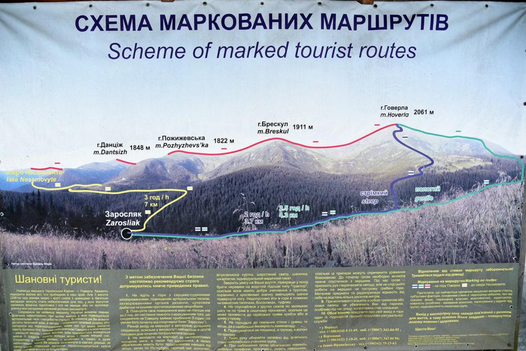 Mapa szlaków na Howerlę